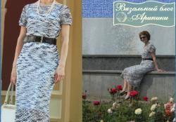 Простое летнее платье-сетка, связанное регланом сверху