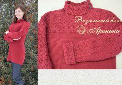 Женский свитер платочной вязкой в комбинации с жгутами